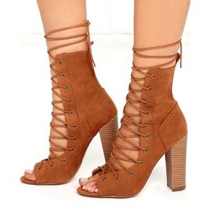 Lulu's 🌵 Lace Up High Heel Booties Brown Suede